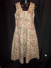STYLE & CO. Womens Beige Floral Size 6 Sleeveless DRESS COTTON
