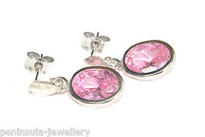 9ct White Gold CZ Drop Earrings Pink Oval Gift Boxed Made in UK Birthday Gift