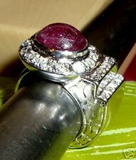 Art Deco 14K Gold Diamond Cabochon Ruby Flapper's Ring