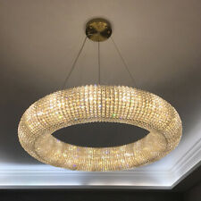 Indoor Lighting Crystals Chandelier Chrome LED Luxury Round Ring ceiling lamp