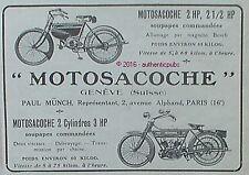 PUBLICITE MOTOSACOCHE BICYCLETTE A MOTEUR MOTO SACOCHE DE 1912 FRENCH AD PUB