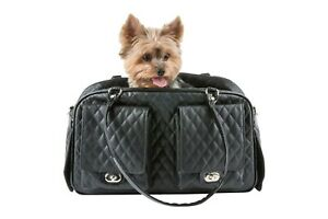 PETOTE Marlee - Black Quilted PVC With Shiny Black Trim Dog Carrier Airline Bag
