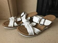 Rieker Women's White Leather Wedge Heel Sandals Size 5 (38)