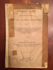 RARE 1849 Pension Laws, Invalid, Navy, Revolutionary War & Others, Washington DC