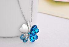 Halskette mit Anhänger Kette Silberkette Modeschmuck Geschenk Klee Kristalle 1A