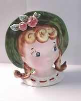 "Vintage Reliable Glassware & Pottery LINDA HEAD VASE 1956 Side-eye 6"" Tall"