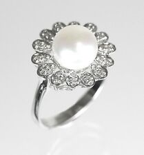 Pearl & Diamond Ring in 14k White Gold  ( Dia 0.20cts) *