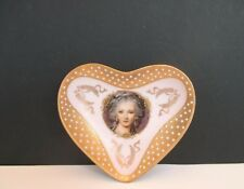Small Portrait Heart Shaped Trinket Dish with Blue Dots