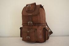 """18"""" Handmade Real Brown Leather DSLR Camera Bag Backpack Hiking Bag Shoulder Bag"""