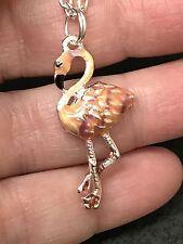 "Flamingo Pink Enamel Charm Tibetan Silver 18"" Necklace D108"