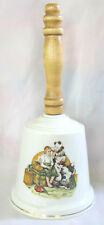 Norman ROCKWELL Circus CLOWN with Boy Ceramic Wooden Handle BELL 1970s
