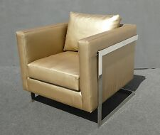 Vintage Contemporary Style Gold Vinyl U0026 Chrome Accent Chair