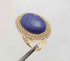 Sz 7 Genuine Blue Lapis Gemstone Popcorn Border Ring REAL 14K Yellow Gold QVC