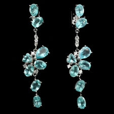 Sterling Silver 925 Genuine Natural Apatite & Lab Created Diamond Drop Earrings