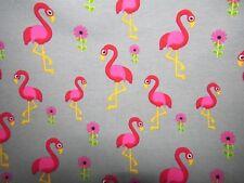 Baumwolljersey mit  Flamingos auf grau  50x150cm Neu aktuell
