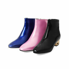 Women's Zip-Up Ankle Boots Low Heel Patent Leather Square Toe Shoes Size US 3~14