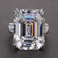 Gorgeous Women 925 Silver Wedding Ring Emerald Cut White Sapphire Size 6-10