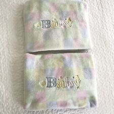 Baby Connection Walmart Pastel Squares Duck Bear Embroidered Blanket Lot Of 2