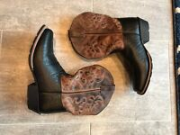 Dan Post Black Brown Leather Cowboy Western Boots Youth Size  6d **excellent**
