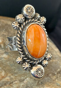 WoMens Native American Sterling Silver Orange Spiny Oyster Ring Set Sz 6 457