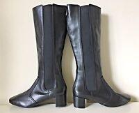 $595 TORY BURCH Ireland Black Gold Tall Knee High Riding Equestrian Boots Sz 9.5