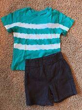 NWT Boy's Green White Stripe Short Sleeve Top Gray Shorts 2pc 18 Months