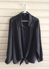Plus Moda women's 3X 22W-24W black long sleeve button up tie front top w/ lace
