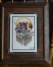 Indian Art Wall Frame Picture Print Cervantes 2000 Sun Tomahawk Feather