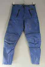 CLASSIC AKITO BLUE LEATHER BIKER TROUSERS: WAIST 30 INCHES/INSIDE LEG 28 INCHES