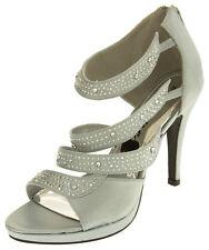 Ladies Divine Satin Diamante Party Heels Womens Wedding Prom Shoes Size 3 5 6