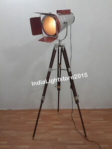 Nautical Collectible Hollywood Leather Spot Light Floor Lamp With Tripod Stand