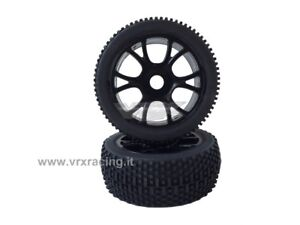 COPPIA RUOTE COMPLETE BUGGY 1/8 OFF ROAD TYRE COMPLETE SET 2 PCS 85046BK VRX