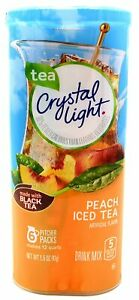 CRYSTAL LIGHT PEACH ICED TEA Powdered DRINK MIX (6 Pitcher Packs x 1 Can) NEW