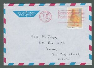 1990 GB - airmail cover to the USA with 34p stamp and red postmark (L213)