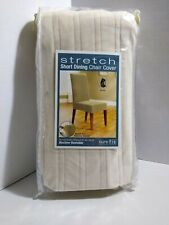 Stretch Pinstripe Short Dining Room Chair Cover - Sure Fit Cream