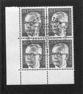 Berlin, Heinemann, Mi.-Nr. 362, Eckrandviererblock, 4er Ecke, ESST Berlin