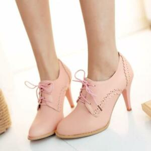 Brogues Womens Wingtip High Heels Retro Oxford Court Shoes Stiletto Bootie New