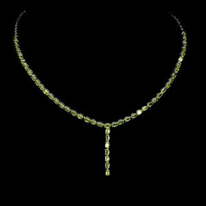 Unheated Oval Peridot 5x3mm White Gold Plate 925 Sterling Silver Necklace 20.5