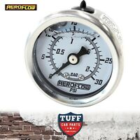 "Aeroflow White 0 - 30 PSI Liquid Filled Carb Fuel or Oil Pressure Gauge 1/8"" NPT"