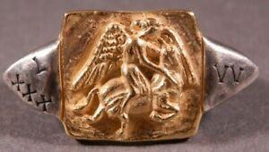 Ancient Roman Military Legionary Gold Silver Ring Legion XXX Victrix Victoria