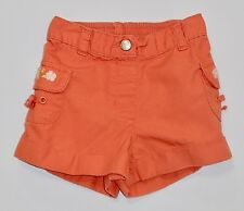 "Gymboree ""Beach Shack"" Hibiscus Flower Dusty Orange Cargo Cuffed Shorts, 18-24m"