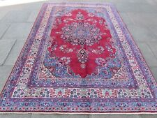 Vintage Hand Made Traditional Oriental Wool Red Blue Large Rug Carpet 290x195cm