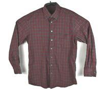 Scott Barber Mens Button Front Long Sleeve Plaid Shirt Red Gray Black Sz Medium