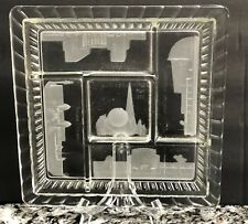 1939 N.Y. WORLD'S FAIR~LARGE FROSTED GLASS PLATE~T & P~FOUR BUILDINGS~ART DECO!~