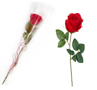 New Deluxe Red Rose Silk Valentine Love Single Stem Flower Gift Packed Wrapped