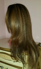 Natural, blow-dry looking dark blonde wig w/light blonde highlights