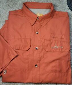 HABIT-Burnt Orange Perform.Poly Cloth, Mens SS/BU, Summer Fishing Shirt-(L)
