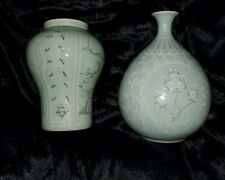 "TWO 10"" LARGE CELADON CRANE & CHRYSANTHEMUM GLAZED POTTERY VASES SIGNED BY MAKER"
