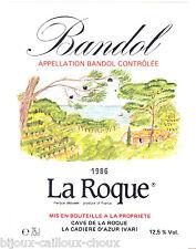 """étiquette de vin BANDOL La Roque 1986 """" peinture """" wine label"""