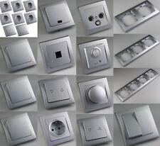 DELPHI-Serie Lichtschalter Steckdose Taster Bewegungsmelder Dimmer Schuko Silber
